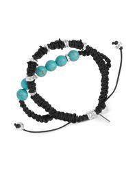 Kenneth Cole - Metallic New York Silvertone Turquoise Semiprecious Bead Macramé Friendship Bracelet - Lyst