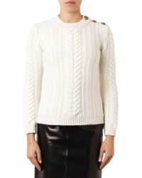 Balmain - White Cable-Knit Wool Sweater - Lyst