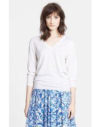 Dolce & Gabbana - White V-Neck Cashmere & Silk Sweater - Lyst