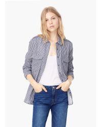 Mango - Black Check Cotton Shirt - Lyst