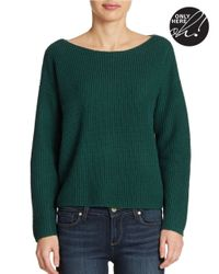 Lord & Taylor | Green Petite Wool Blend Waffle Knit Sweater | Lyst