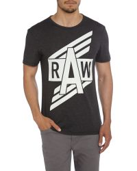 G-Star RAW - Black Ilay Regular Fit Graphic Crew Neck T-shirt for Men - Lyst