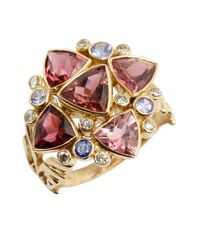 Amrapali | Metallic Diamond, Tanzanite And Tourmaline Trilliant Ring | Lyst