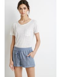Forever 21 | Blue Chambray Drawstring Shorts | Lyst