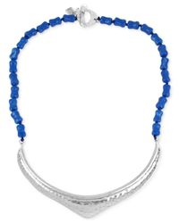 Robert Lee Morris - Silver-tone Sculptural Blue Bead Frontal Necklace - Lyst