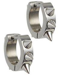 MFP MariaFrancescaPepe - Metallic Silver Tone Studded Hoop Earrings - Lyst