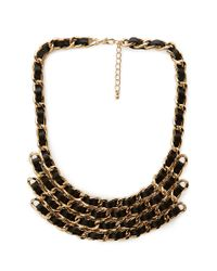 Forever 21 - Black On The Edge Woven Bib Necklace - Lyst