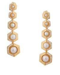 Rachel Zoe - White Beaded Linear Drop Earrings - Lyst