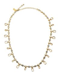 kate spade new york | Metallic Pearly Crystal-drop Necklace | Lyst