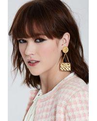 Nasty Gal - Metallic Vintage Chanel Clutch Earrings - Lyst