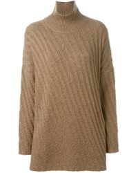 AALTO | Brown Oversized Roll Neck Sweater | Lyst