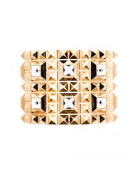 Rebecca | Metallic Swarovski Element Studded Cuff | Lyst