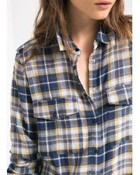 Mango - Blue Check Cotton Shirt for Men - Lyst