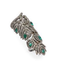 Bavna | Metallic Emerald, Multicolor Diamond & Sterling Silver Feather Ring | Lyst