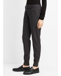 Vince - Gray Mélange Flannel Belted Rib Cuff Jogger - Lyst