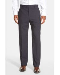 Zanella - Black 'todd' Flat Front Check Wool Trousers for Men - Lyst