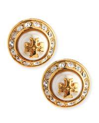 Tory Burch | Metallic Natalie Pearly Stud Earrings | Lyst