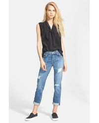 FRAME - Black Sleeveless Tie Neck Silk Shirt - Lyst