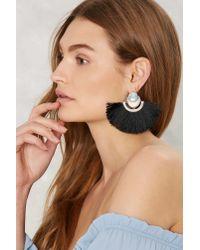 Nasty Gal - Black Big Fan Fringe Earrings - Lyst