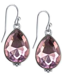 2028 - Silver-Tone Purple Crystal Teardrop Earrings - Lyst