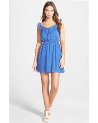 Soprano - Blue Print Skater Dress - Lyst