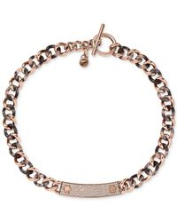 Michael Kors - Pink Rose Gold-Tone Curb Link Necklace - Lyst