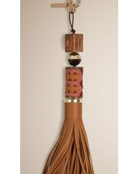 Burberry - Brown Bead And Leather Tassel Charm - Lyst