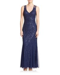 Aidan Mattox | Blue Sequin V-neck Bridesmaid Gown | Lyst