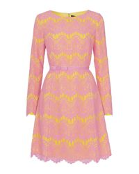 French Connection - Pink Linea Lace Shift Dress - Lyst