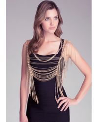 Bebe | Metallic Crystal & Fringe Body Chain | Lyst