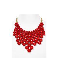 "Aqua - Red Bubble Bib Statement Necklace, 16"" - Lyst"