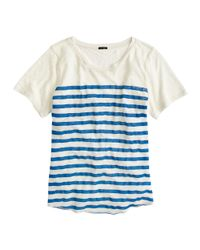 J.Crew | White Linen Striped T-shirt | Lyst