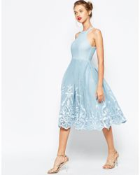 ASOS - Blue Embroidered Floral Super Full Mesh Dress - Lyst