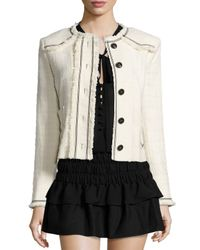 Étoile Isabel Marant - White Ferris Fringed Linen Button Jacket - Lyst