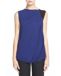 Armani | Blue Sleeveless Colorblock Top | Lyst