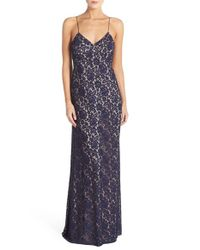 Donna Morgan - Blue Gia Lace Slip Dress - Lyst