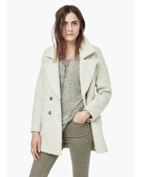 Mango - Gray Bouclé Wool Coat - Lyst