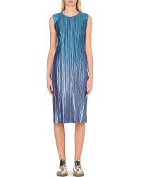 Pleats Please Issey Miyake | Blue Horizon Pleated Metallic Dress | Lyst