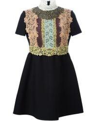 Valentino - Black Lace Bib Shortsleeved Dress - Lyst