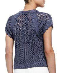Tibi - Blue Tube Yarn Muscle Sweatshirt - Lyst