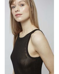 TOPSHOP - Black Ribbed Loungewear Slip - Lyst