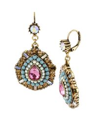 Betsey Johnson | Multicolor Multi Color Crystal And Bead Teardrop Earrings | Lyst