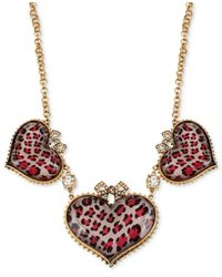 Betsey Johnson - Metallic Gold-Tone Pink Leopard Heart Frontal Necklace - Lyst