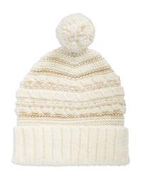 Lauren by Ralph Lauren | Natural Contrast Knit Hat | Lyst