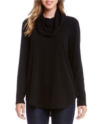 Karen Kane | Black Funnelneck Knit Sweater | Lyst