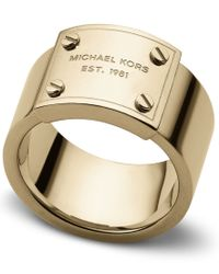 Michael Kors | Metallic Heritage Plaque Ring - Ring Size P - M/L | Lyst