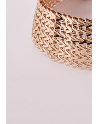 Missguided | Metallic 70's Chain Link Choker Gold | Lyst