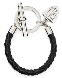 Lauren by Ralph Lauren | Metallic Logo Charm Leather Bracelet | Lyst
