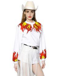 Maria Escoté - White Fire Printed Cotton Sweatshirt - Lyst