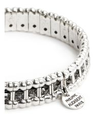 Philippe Audibert | Metallic 'lisa' Crystal Bead Elastic Bracelet | Lyst